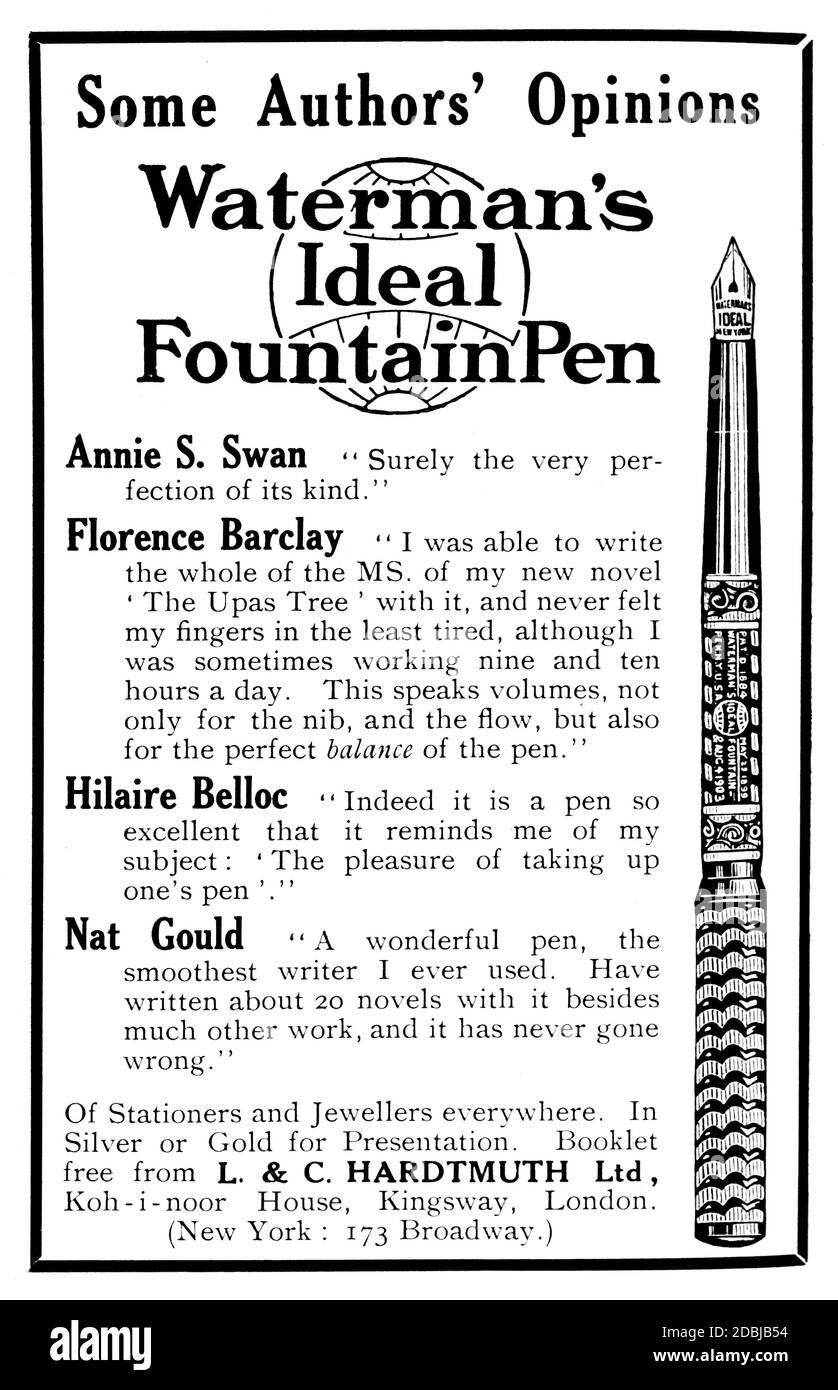 1914 la publicité idéale de Waterman au stylo plume avec les recommandations des auteurs Du Studio un magazine illustré de fin et appliqué Art Banque D'Images