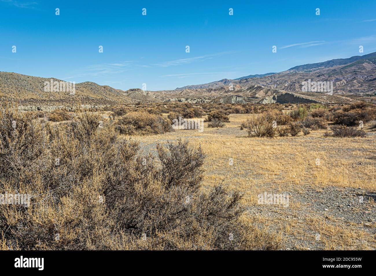 Paysage dans le désert de Tabernas. Banque D'Images