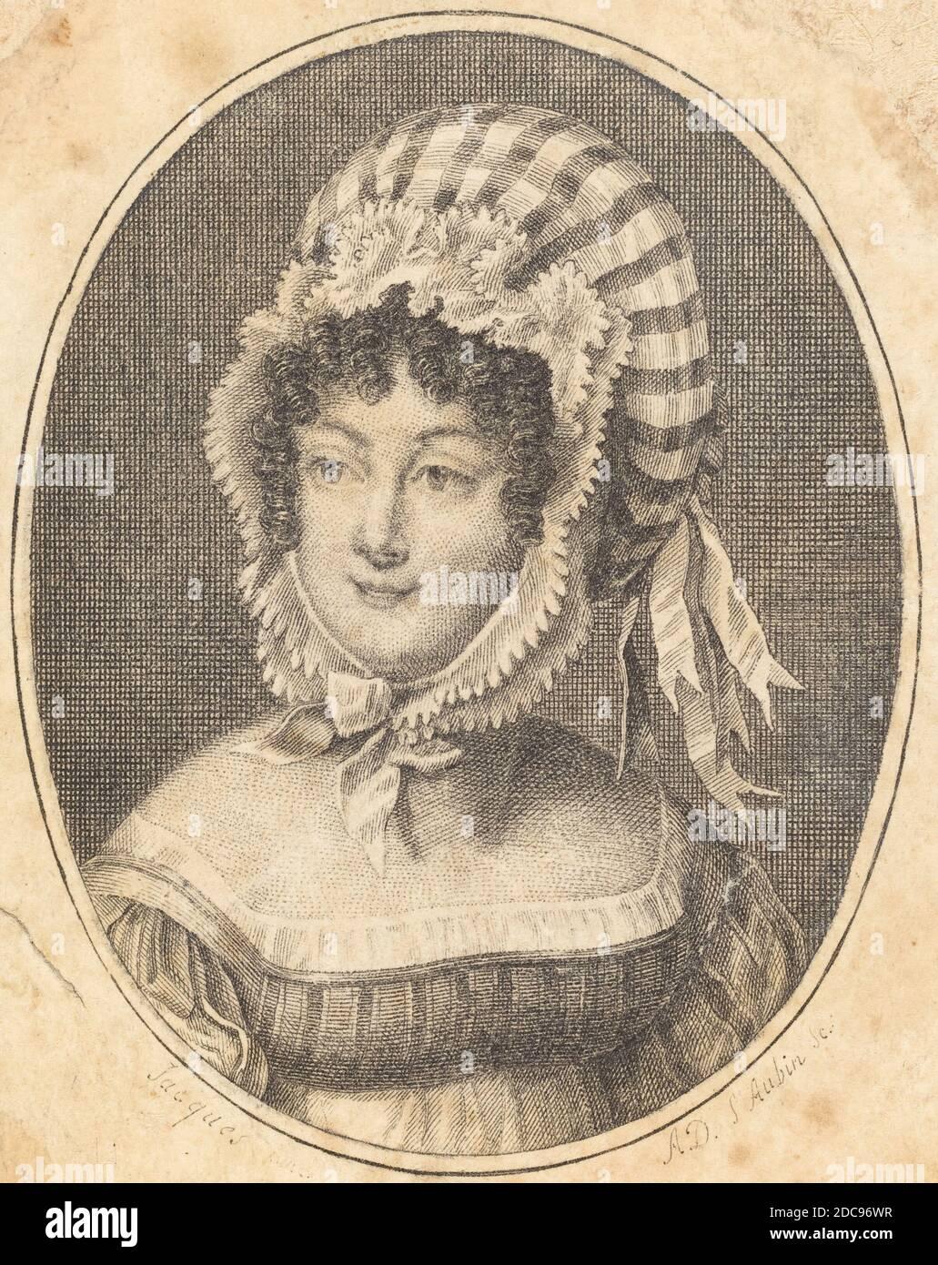 Augustin de Saint-Aubin, (artiste), Français, 1736 - 1807, Chef d'une femme portant un chapeau rayé, gravure Banque D'Images