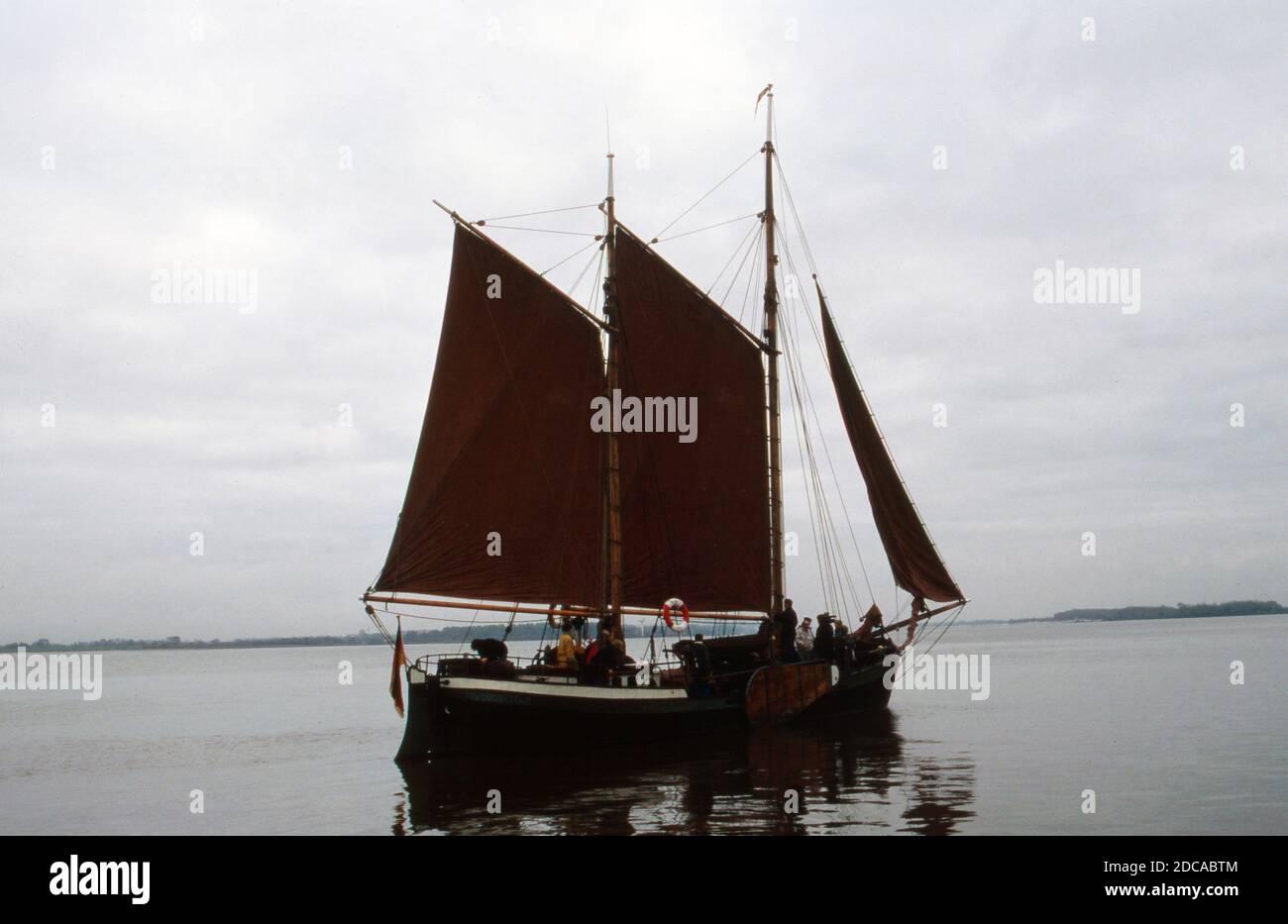 Segelboot 'Heinrich Lühe' für die ZDF Archäolgie-Sendung 'C14', Deutschland 1991. Banque D'Images