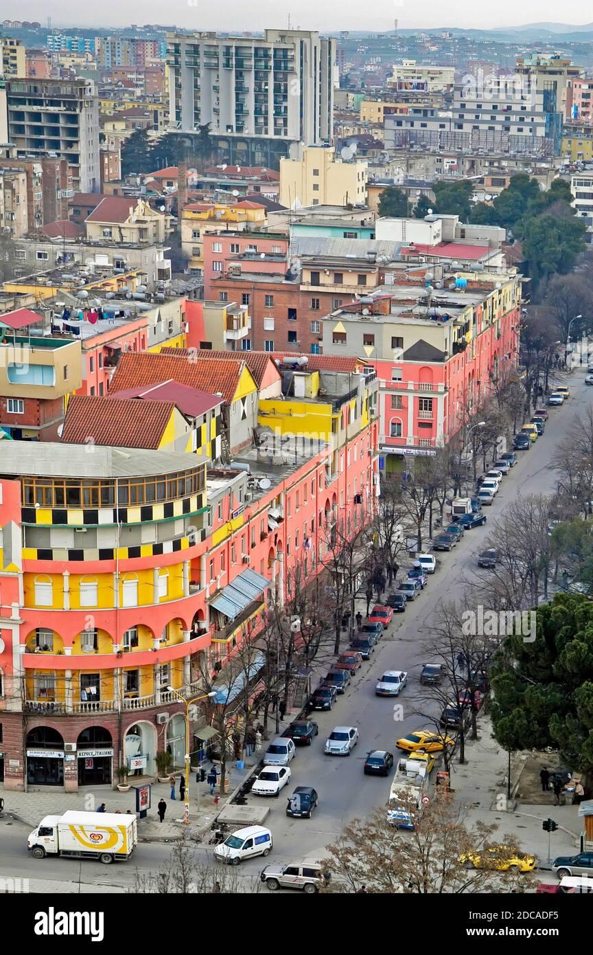 Centre ville de Tirana, Albanie Banque D'Images