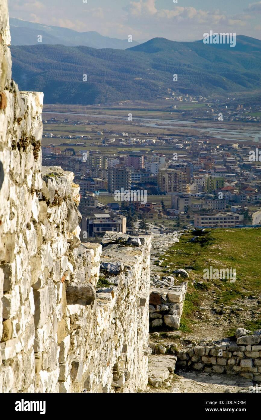 Ruines de la forteresse, Berat, au sud de l'Albanie Banque D'Images