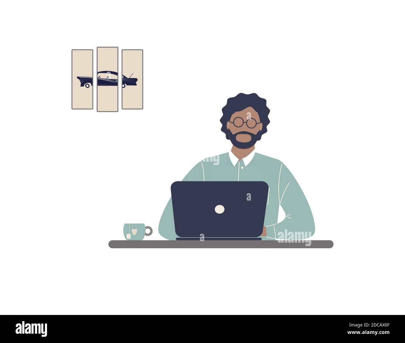 Homme afro-américain tuteur travailler sur ordinateur portable.travail à distance, e-learning à distance ou formation en ligne pendant l'épidémie de virus.entraîneur ou entraîneur lady Banque D'Images