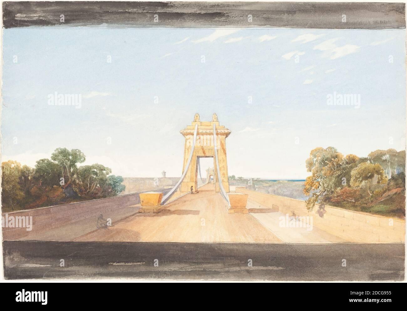James Bulwer, (artiste), British, 1794 - 1879, Clifton suspension Bridge près de Bristol, c. 1832, aquarelle et graphite, hors tout (environ) : 18.8 x 27.4 cm (7 3/8 x 10 13/16 po Banque D'Images
