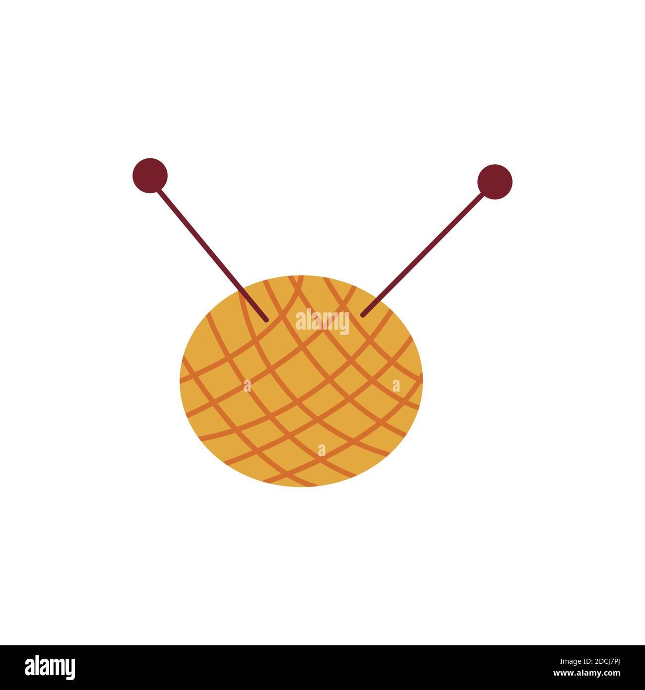 Boule de fil. Tricoter les filets et les aiguilles. Pelote ronde de fil. Laine ou coton. Illustration vectorielle isolée colorée icône dessinée à la main Illustration de Vecteur