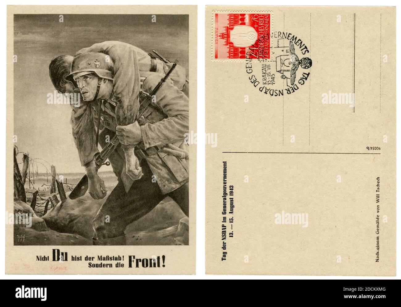 Carte postale historique allemande: 'Kameraden'. Le soldat sur la ligne de front porte un camarade blessé. Artiste will Tschech, 1943, Allemagne, troisième Reich Banque D'Images