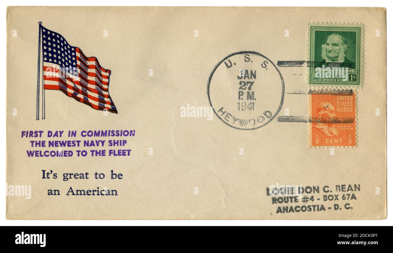 USS Heywood, les Etats-Unis, 27 janvier 1941: ENVELOPPE historique DES ETATS-UNIS: Couverture avec un cachet patriotique premier jour en commission le plus récent navire de la Marine, drapeau américain Banque D'Images