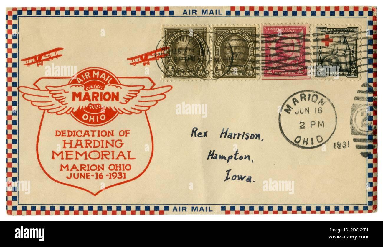 Marion, Ohio, États-Unis - 16 juin 1931: Enveloppe historique: Couverture avec cachet d'aviation dédicace du mémorial de harding, courrier aérien, quatre timbres-poste Banque D'Images