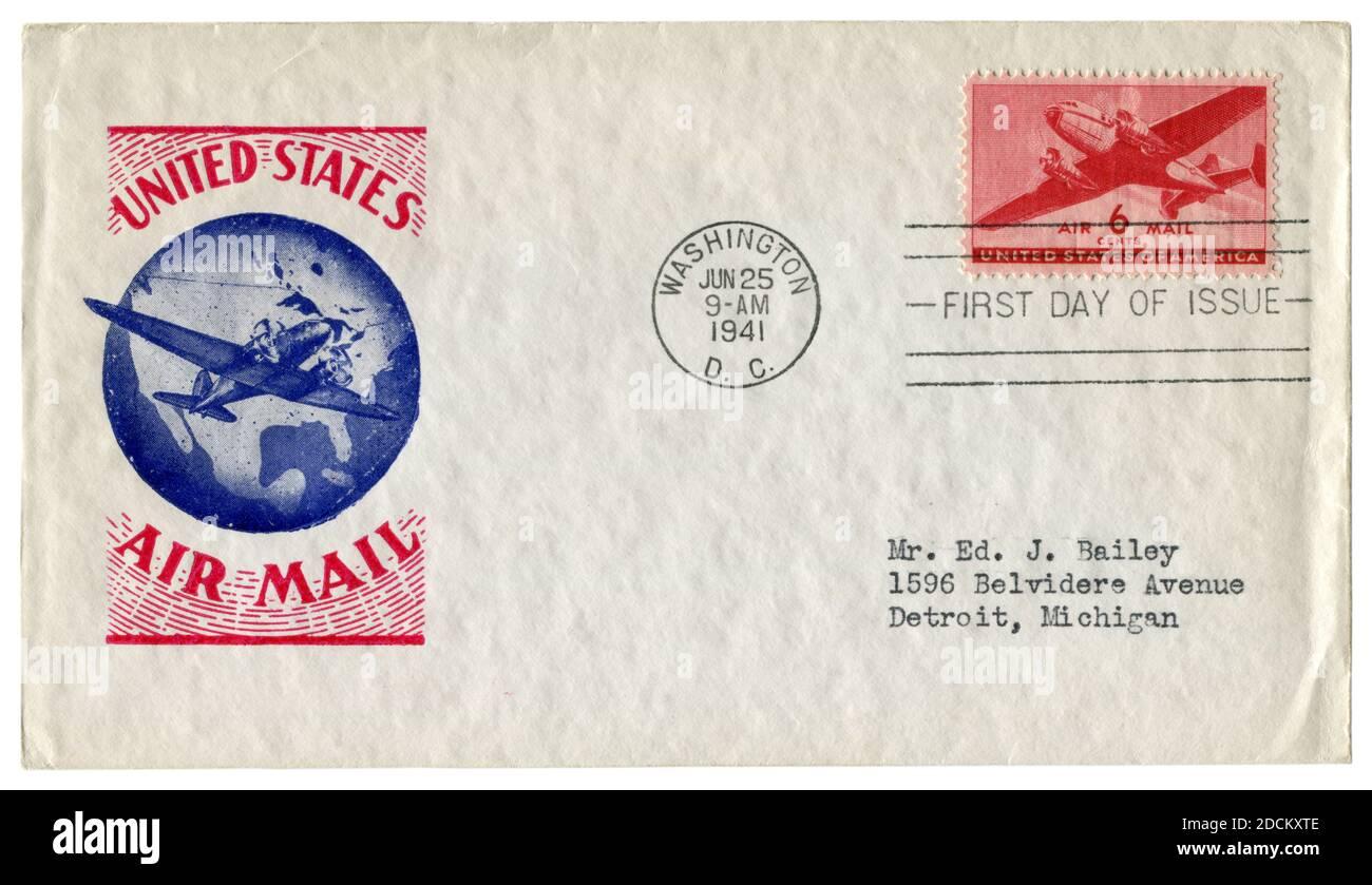 Washington D.C., États-Unis - 25 juin 1941: Enveloppe historique: Couverture avec cachet d'aviation, timbre-poste Douglas DC-3, six cents, premier jour Banque D'Images