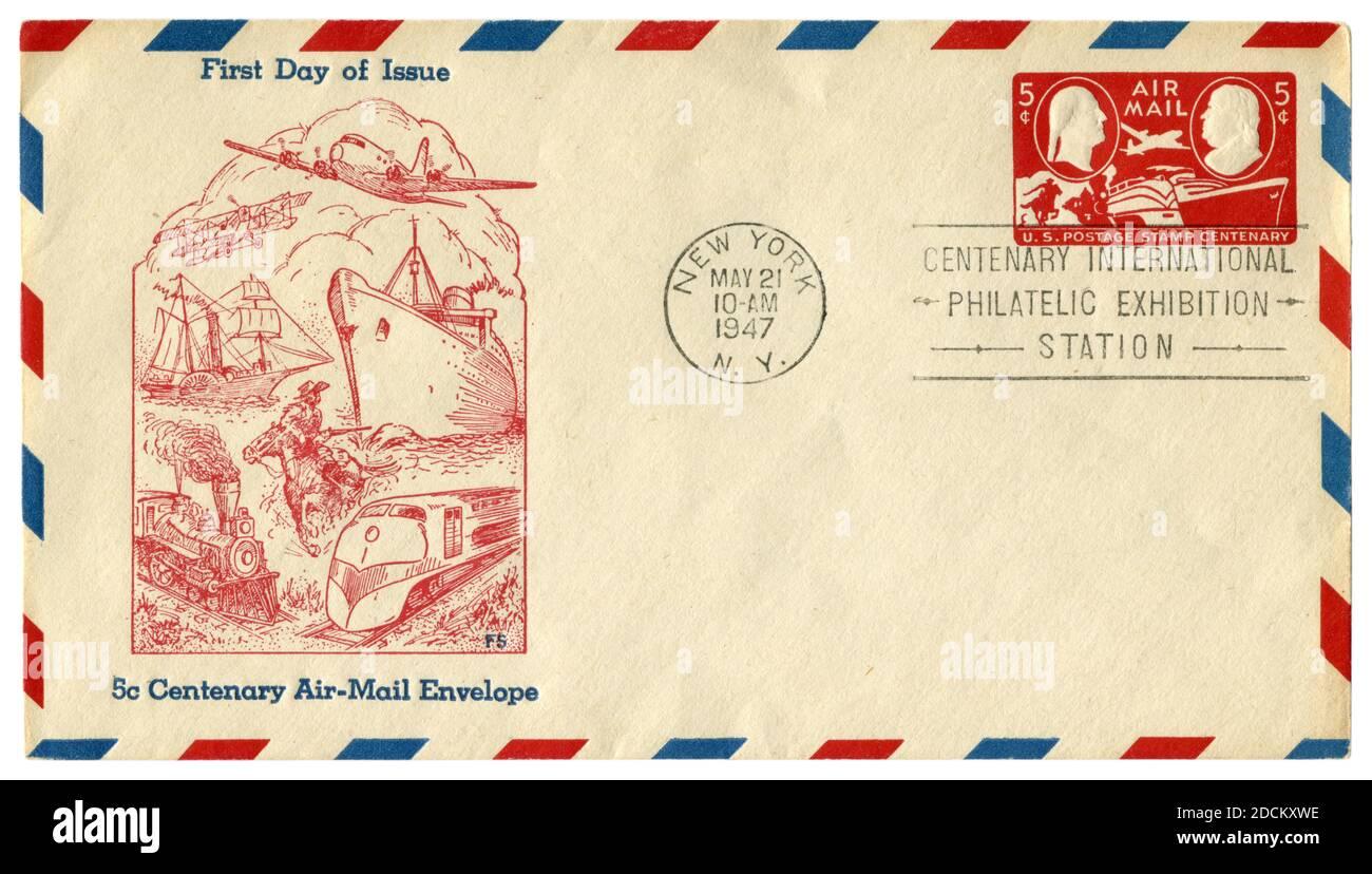 New-York, les Etats-Unis - 21 mai 1947: ENVELOPPE historique DES ETATS-UNIS: Couverture avec enveloppe de courrier aérien centenaire de 5 cents cachet, exposition philatélique internationale Banque D'Images