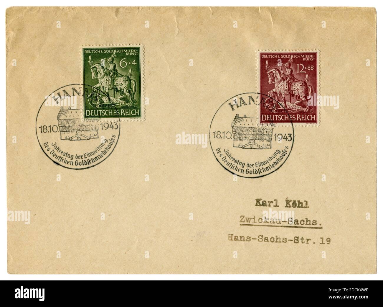 Hanau, Allemagne - 18 octobre 1943 : enveloppe historique : couverture avec deux timbres-poste 11e anniversaire de la société nationale allemande des bijoutiers, fdc Banque D'Images