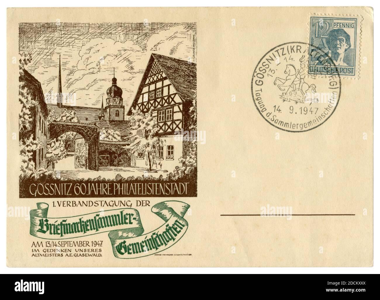 Gößnitz, Thuringe, ALLEMAGNE — 14 septembre 1947: Gössnitz 60 ans de philatélistes de la ville, 1 Réunion d'association des collectionneurs de timbres Banque D'Images