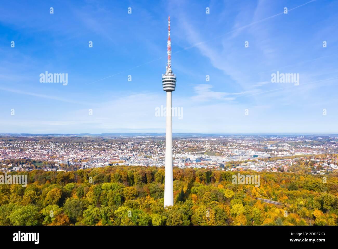 Stuttgart tv tour horizon vue aérienne ville architecture voyage En Allemagne Banque D'Images