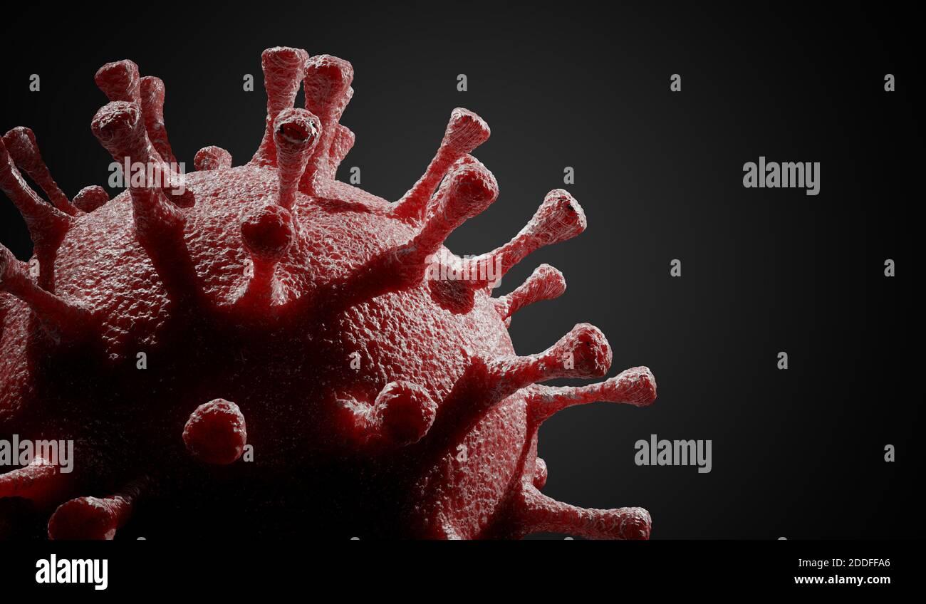 Gros plan sur le virus responsable de la maladie COVID-19 sur fond noir. Illustration de rendu 3D. Banque D'Images