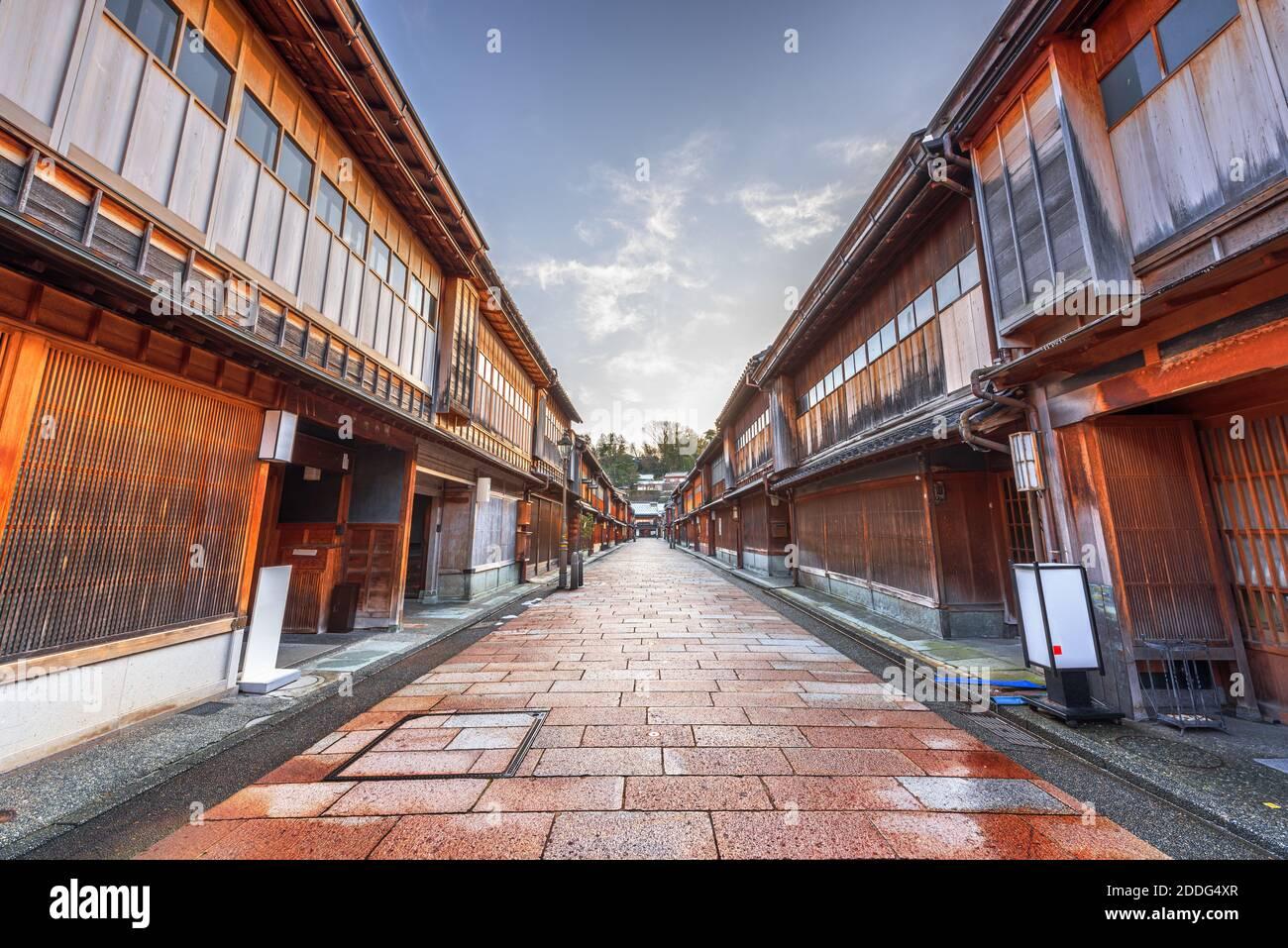 Kanazawa, Japon Scène de rue au quartier Higashichaya en hiver. Banque D'Images