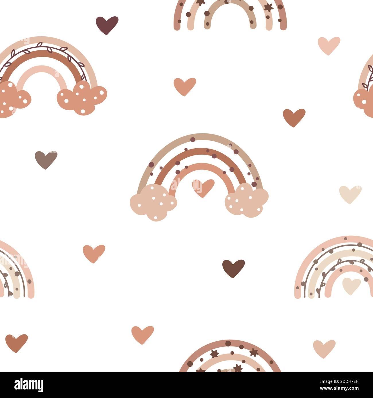 Joli motif sans couture aux couleurs nordiques avec des boucles de pluie douces et des éléments en forme de coeur isolés sur fond blanc. Illustration vectorielle dessinée à la main en S. Illustration de Vecteur