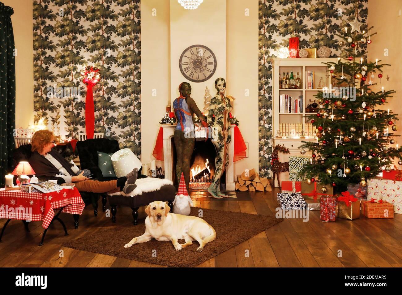 """Échauffement pendant la pause - peinture de Noël avec la grand-mère Sabine S., le chien Louis, le modèle Marilena comme lampe de plancher et le modèle Darky comme un cadeau au restaurant Castle Hehlen. Travail sur le clip de Noël """"le Noël de l'artiste - UN Bodypainting clip vidéo de l'atelier Düsterwald"""" par Jörg Düsterwald et Alexander grosse-Strangmann. Hehlen le 28 novembre 2020 Banque D'Images"""