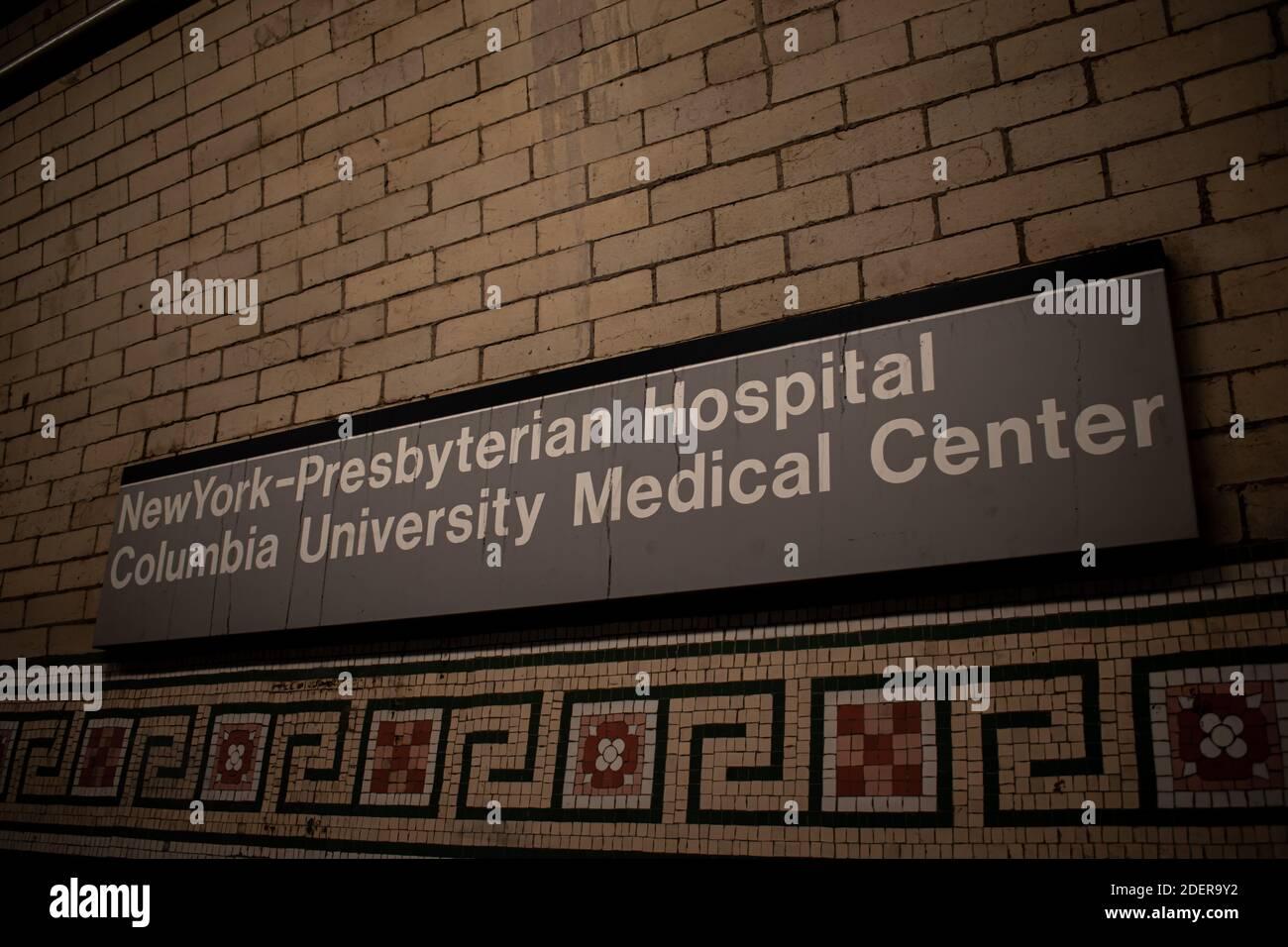 Hôpital presbytérien de New York - Columbia University Medical Center Subway Panneau Washington Heights NY Banque D'Images