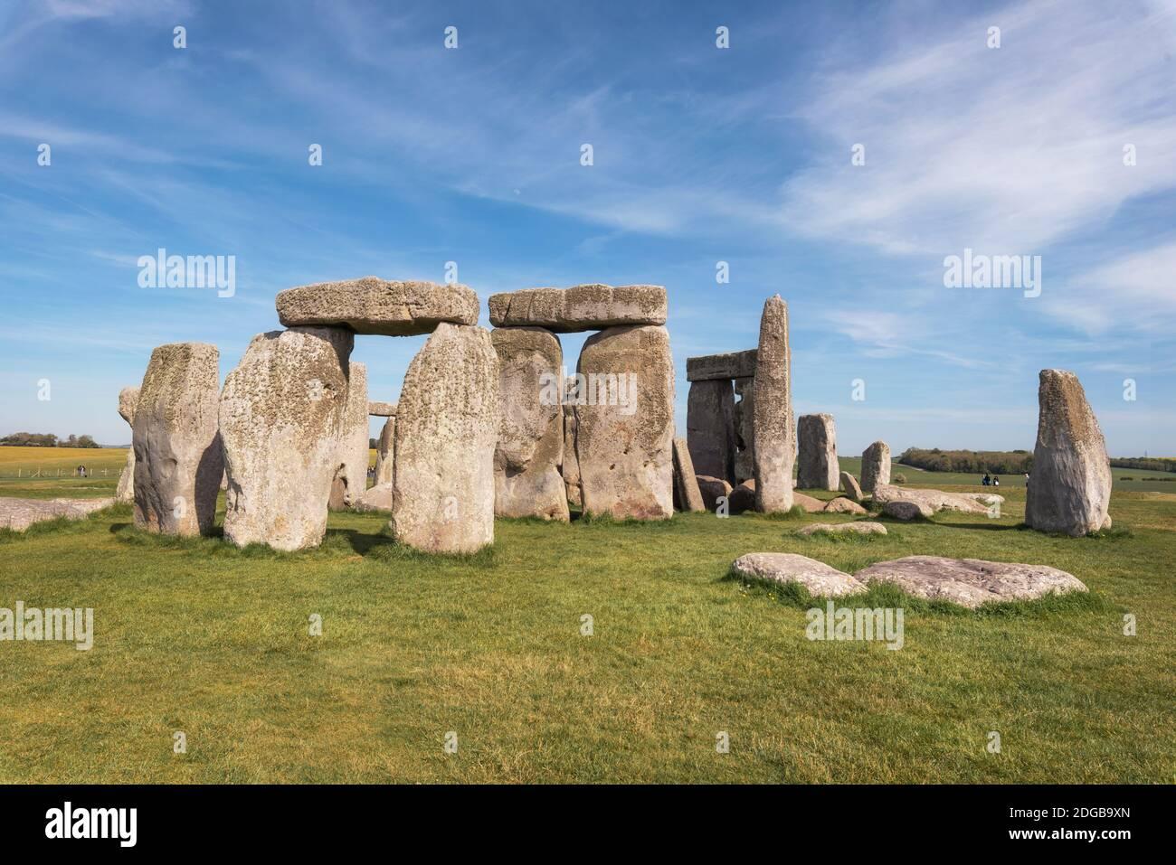 Stonehenge un ancien monument en pierre préhistorique près de Salisbury, Royaume-Uni, site classé au patrimoine mondial de l'UNESCO. Banque D'Images