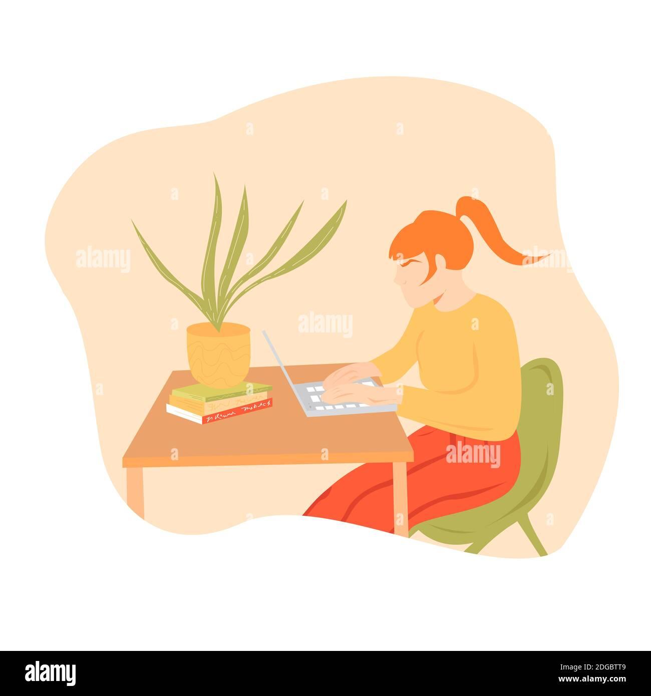Femme travaillant à la maison concept d'illustration. Belle jeune femme indépendante travaillant sur l'illustration d'ordinateur portable dans le style vectoriel plat sur le backgroun abstrait Banque D'Images