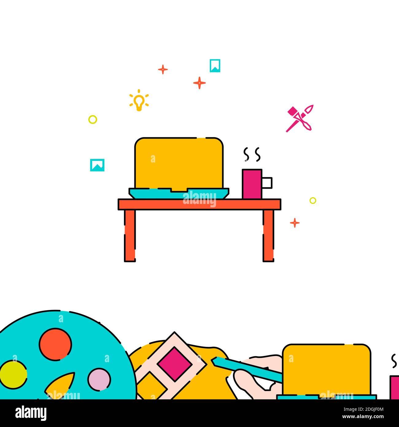 Icône de ligne pleine Designer Workplace, illustration simple Illustration de Vecteur