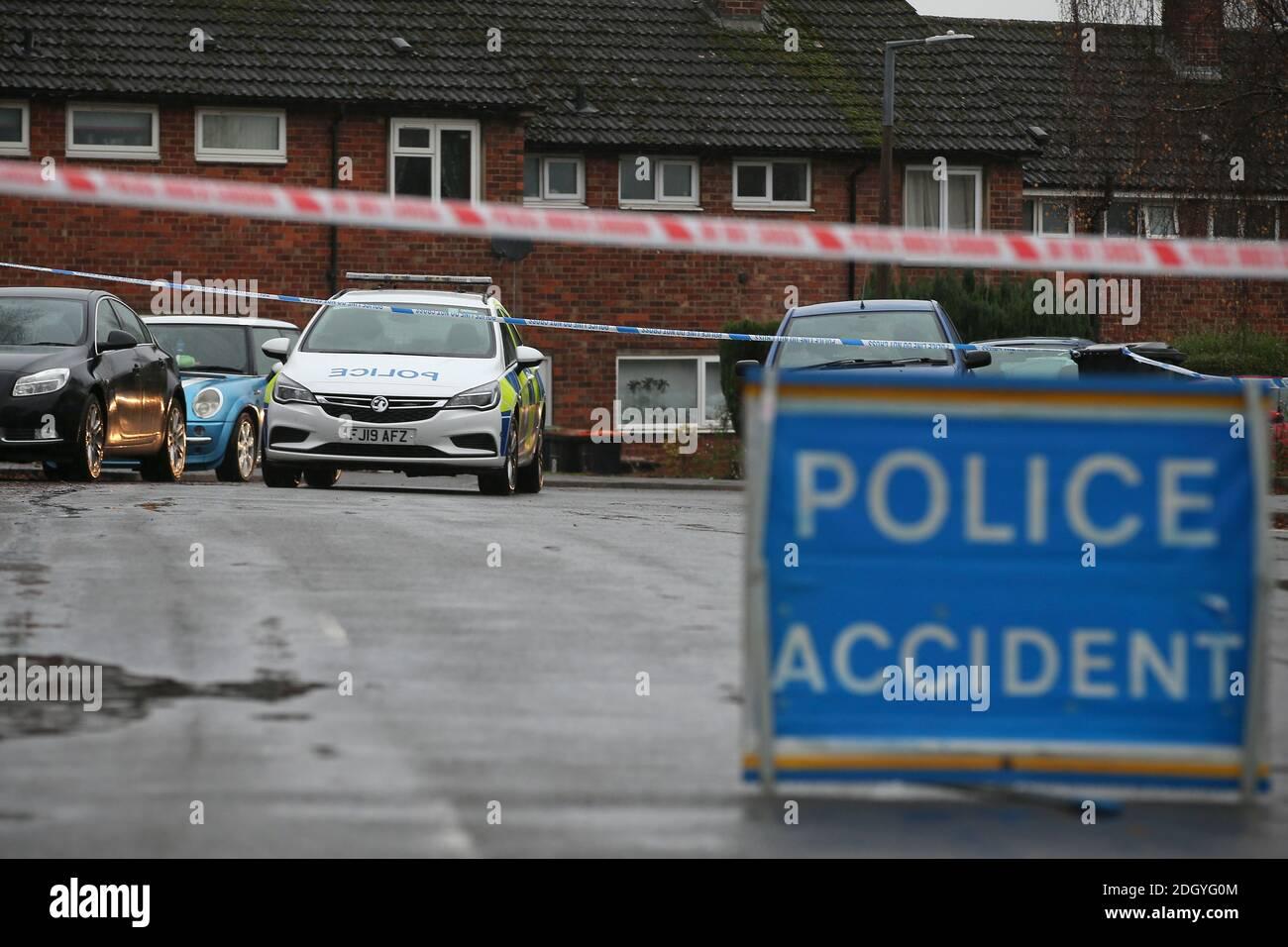 Panneau d'accident de la police, Nottingham, jeudi 3 décembre 2020. Banque D'Images