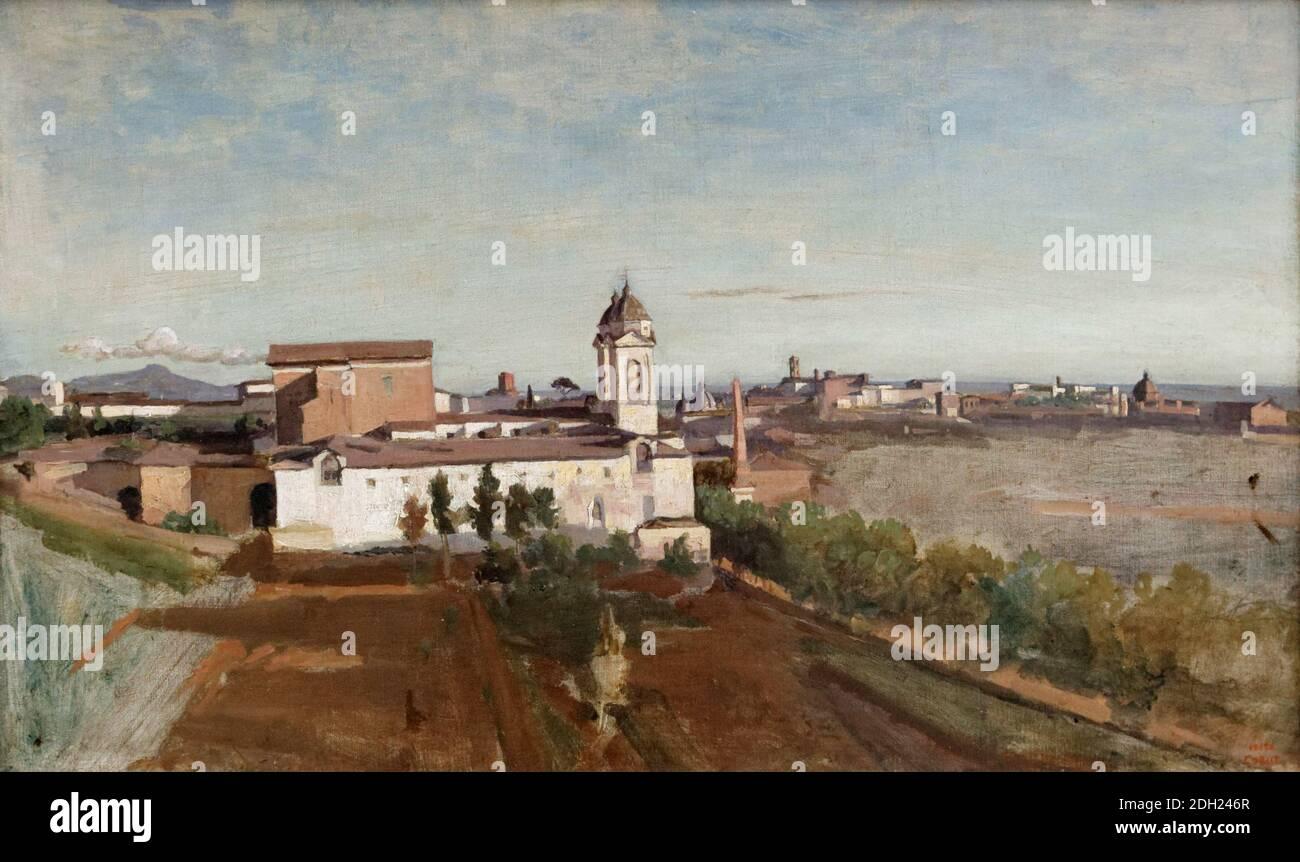 La Trinité-des-Monts, vue de la Villa Medici, par Jean-Baptiste Camille Corot Banque D'Images