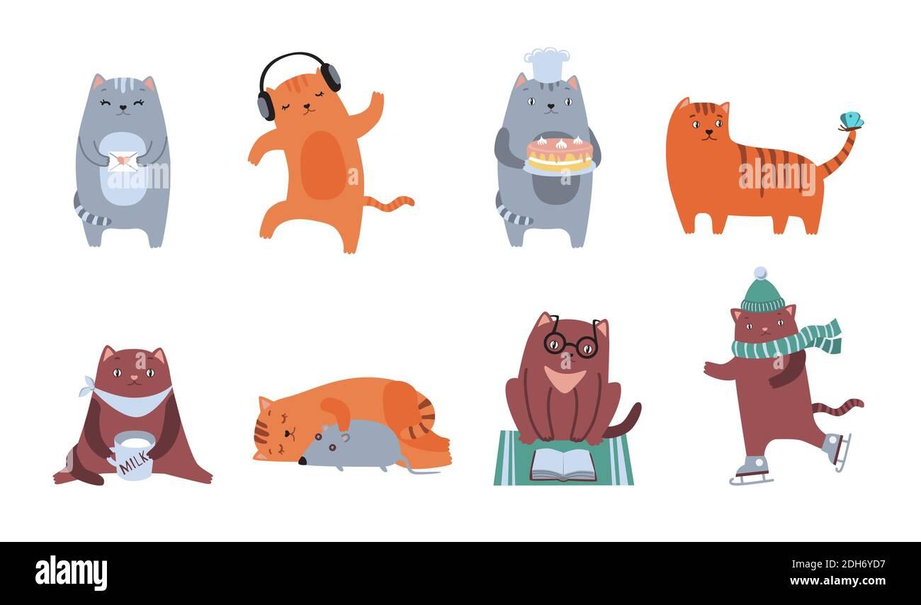 Kit icône plat chats mignon. Personnages félins moelleux assis, dormant, dansant, jouant, lisant, buvant une collection d'illustrations vectorielles isolées. Dôme Illustration de Vecteur