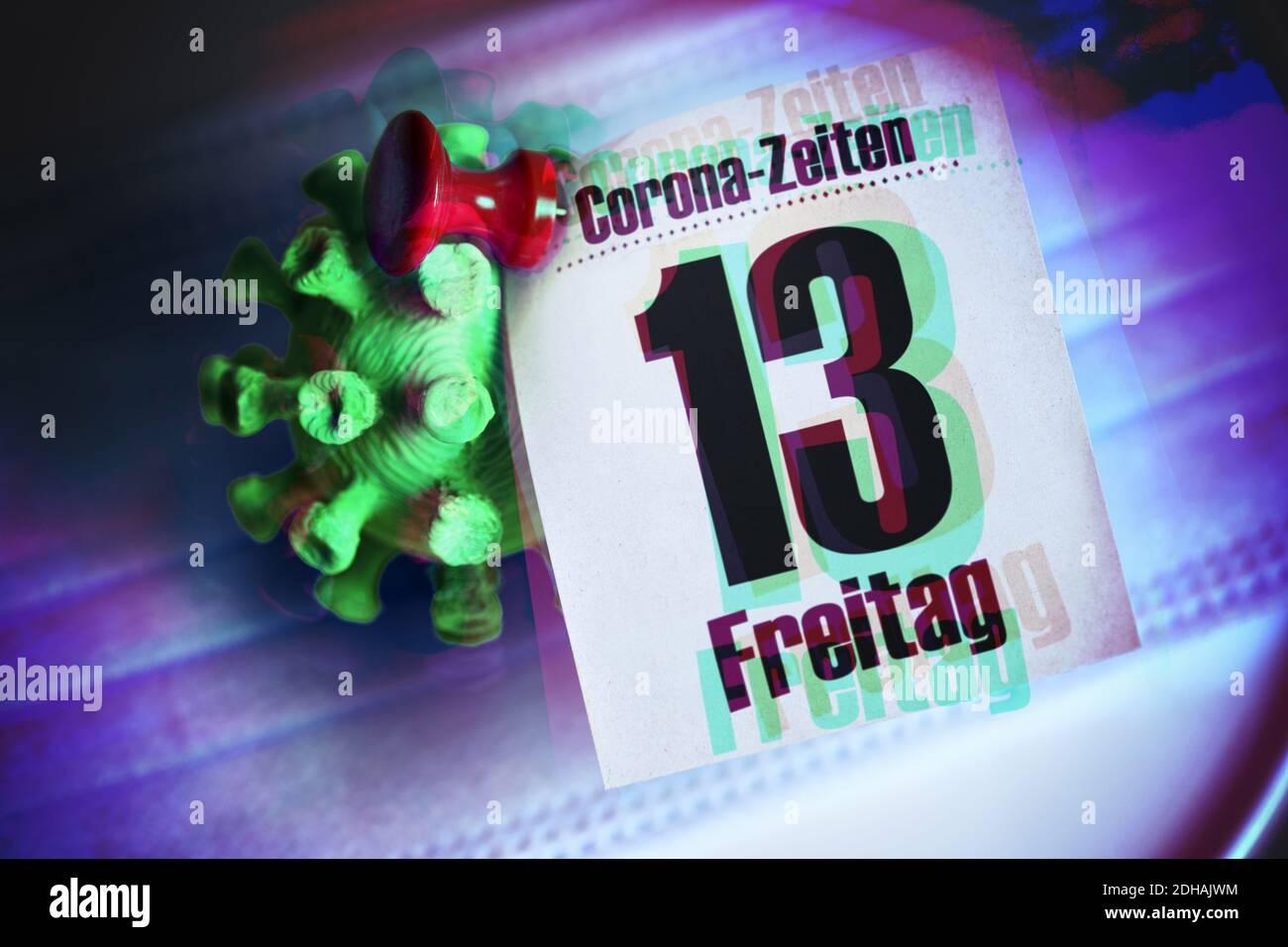FOTOMONTAGE, coronavirus und Kalenderblatt vom Freitag, den 13. Banque D'Images