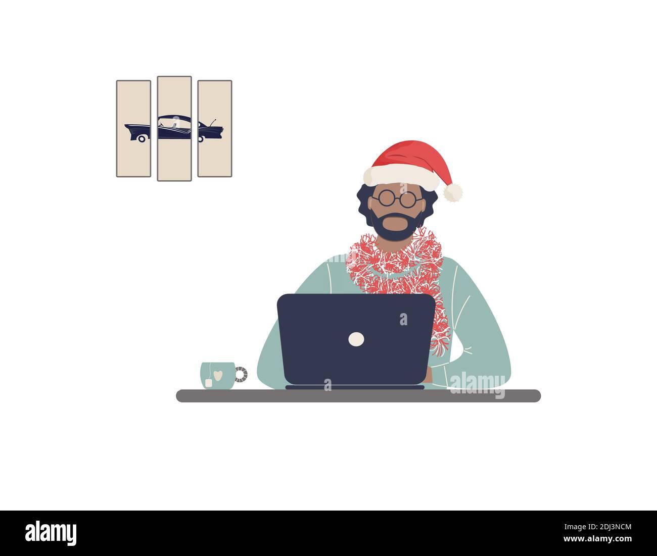 L'homme afro-américain tuteur dans le chapeau rouge du Père Noël travaillent sur ordinateur portable.travail à distance, e-learning à distance ou formation en ligne dans le cadre de Noël Banque D'Images