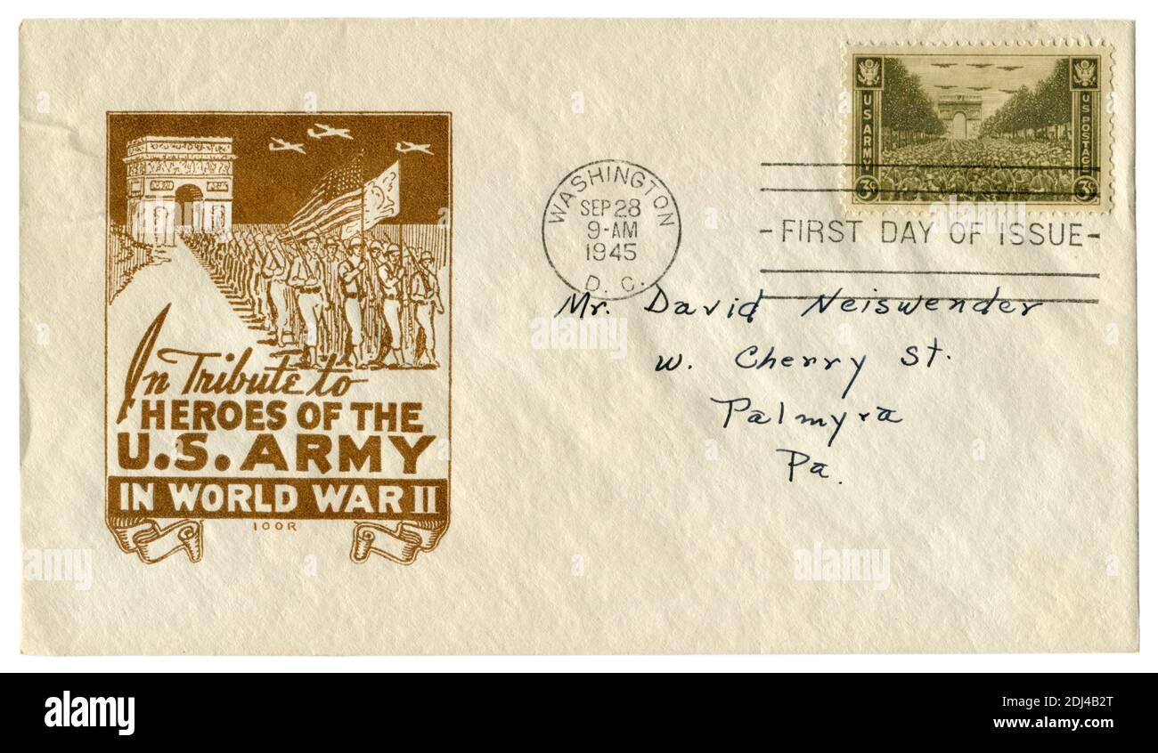 Washington D.C., les Etats-Unis, 28 septembre 1945: ENVELOPPE historique DES ETATS-UNIS: Couverture avec un cachet patriotique en hommage aux héros de l'armée américaine dans la Seconde Guerre mondiale Banque D'Images
