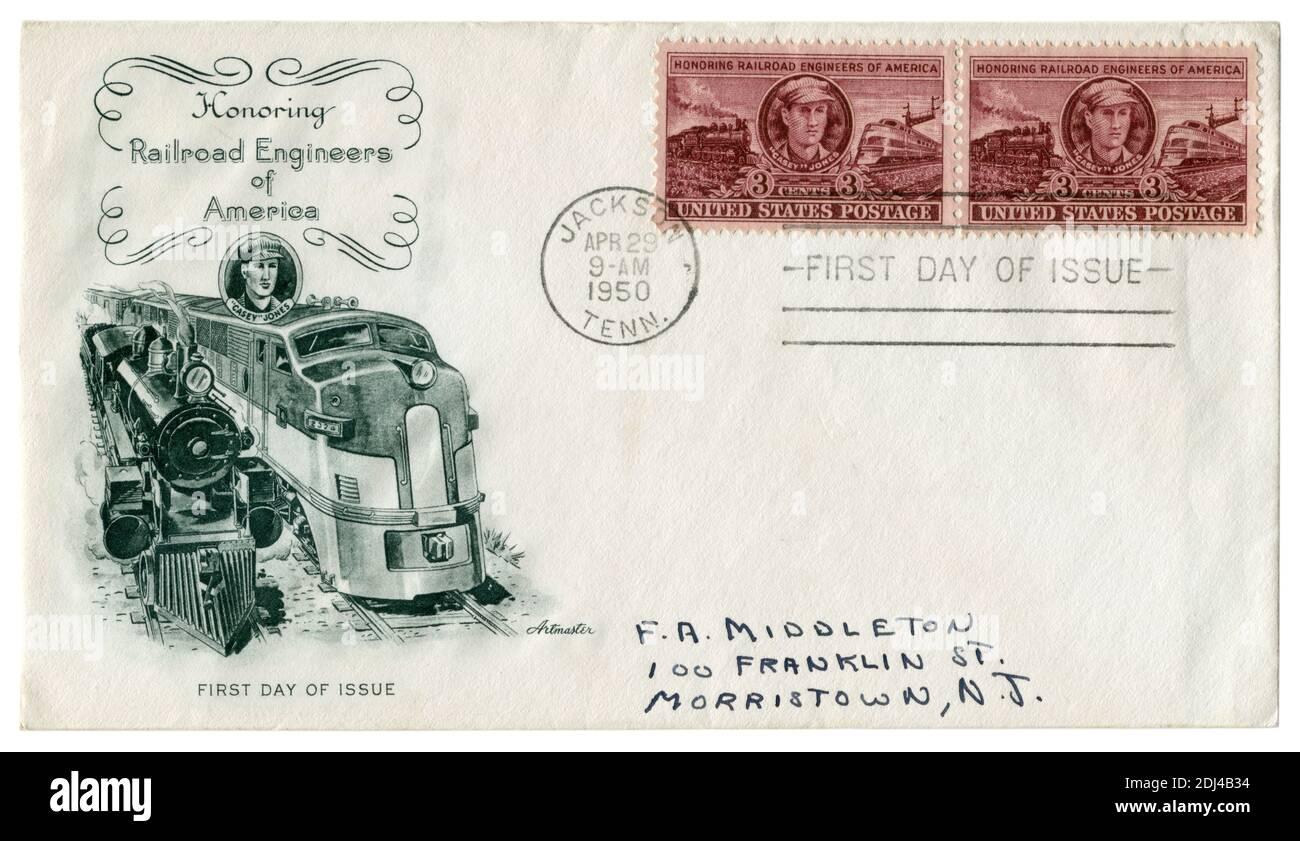 Jakson, Tennessee, États-Unis, 29 avril 1950 : ENVELOPPE historique DES ÉTATS-UNIS : honorer les ingénieurs du chemin de fer d'Amérique, locomotive à vapeur et diesel, timbre-poste Banque D'Images