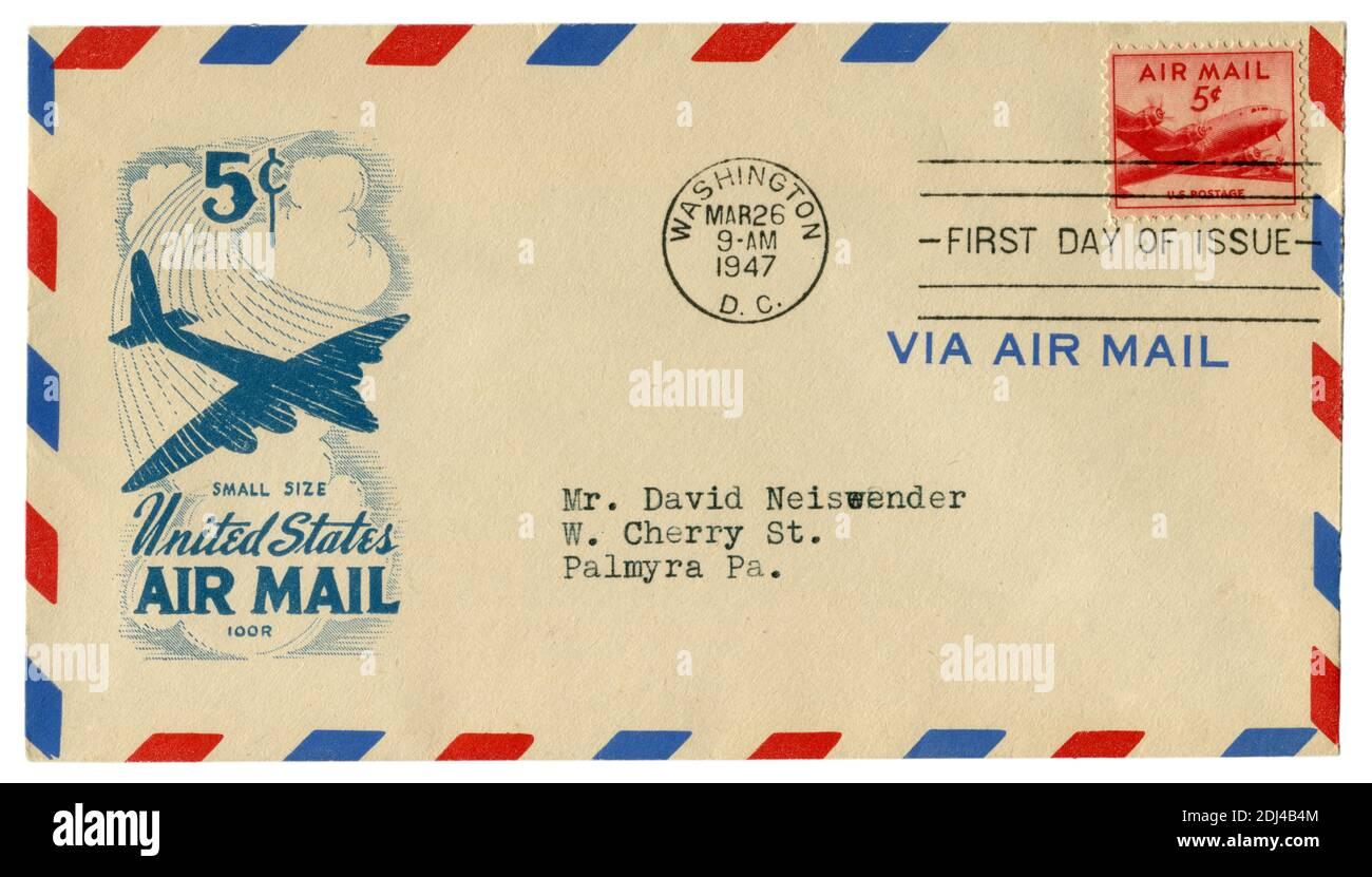 Washington D.C., États-Unis - 26 mars 1947: Enveloppe historique: Couverture avec cachet d'aviation, Douglas DC-4 timbre-poste Skymaster, cinq cents Banque D'Images