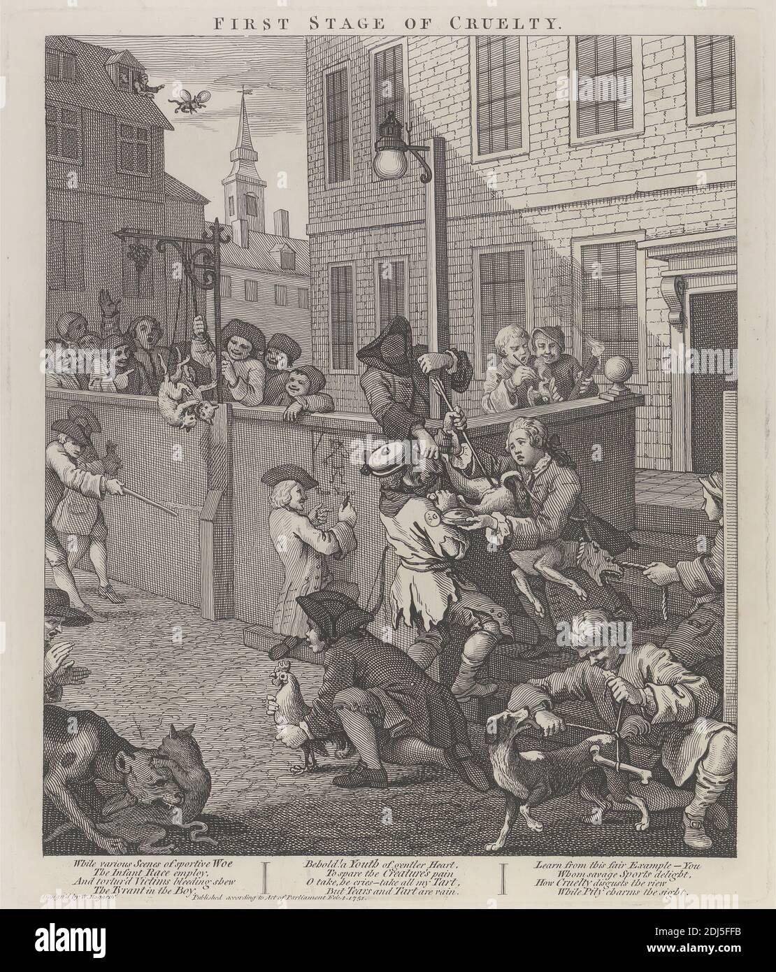 La première étape de la cruauté : enfants torturant des animaux, imprimé par William Hogarth, 1697–1764, British, 1751, imprimé en 1790, gravure en ligne sur papier épais, blanc, lisse, feuille: 24 7/8 x 19 1/4 pouces (63.2 x 48.9 cm), plaque: 15 1/4 x 12 3/4 pouces (38.7 x 32.4 cm), et image: 14 x 11 3/4 pouces (35.6 x 29.8 cm), ballon, os, chats (chats domestiques), enfants, église, cruauté, chiens (animaux), genre sujet, lampadaire, paroisse, coq, clocher, rue, torture, violence, Angleterre, Europe, Londres, St Giles, Royaume-Uni Banque D'Images