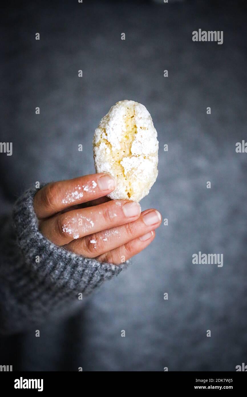 Ricciarelli di Siena, biscuits aux amandes italiennes Banque D'Images