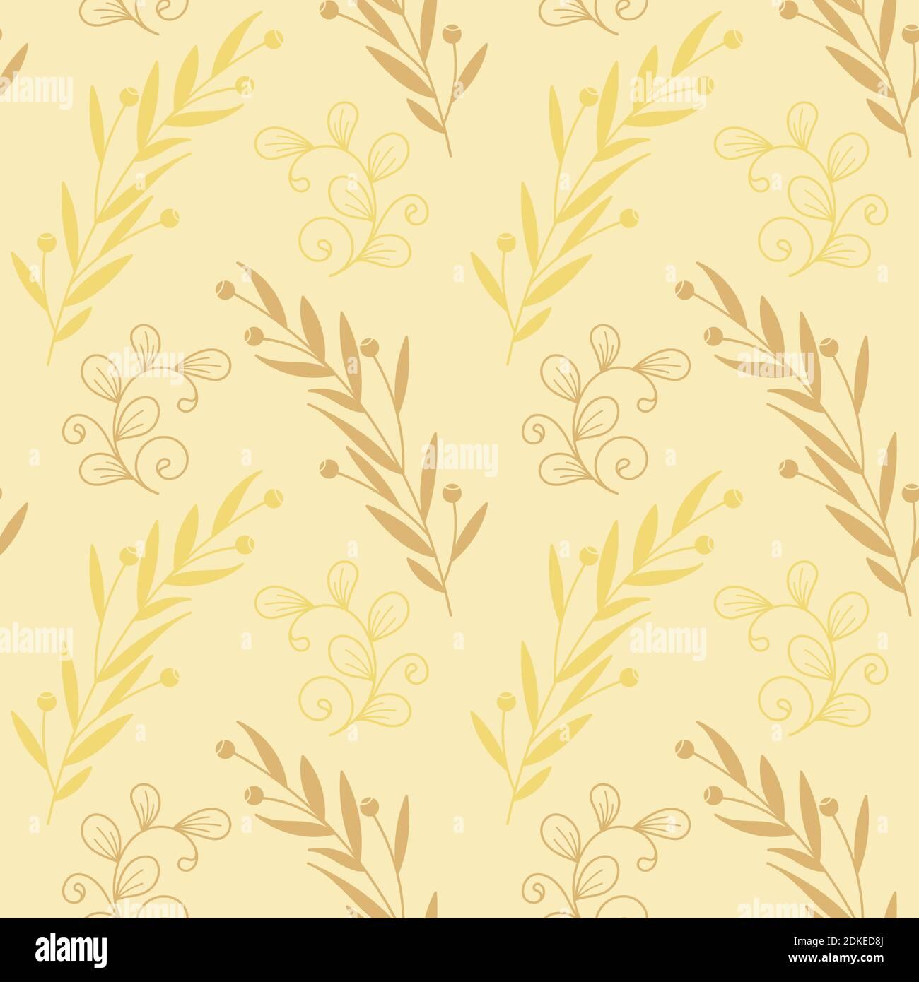 Motifs vectoriels sans couture avec branches avec feuilles. Illustration vectorielle plate pour papier d'emballage, papier peint, impression textile. Illustration de Vecteur