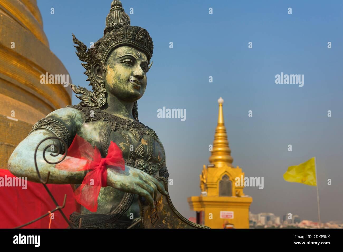Mont d'or Statue Wat Saket Bangkok Thaïlande Banque D'Images