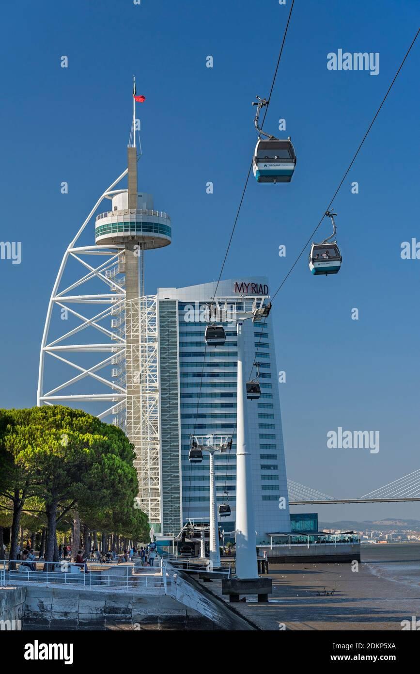 Tour Vasco da Gama et du téléphérique Parque das Nações Lisbonne Portugal Banque D'Images