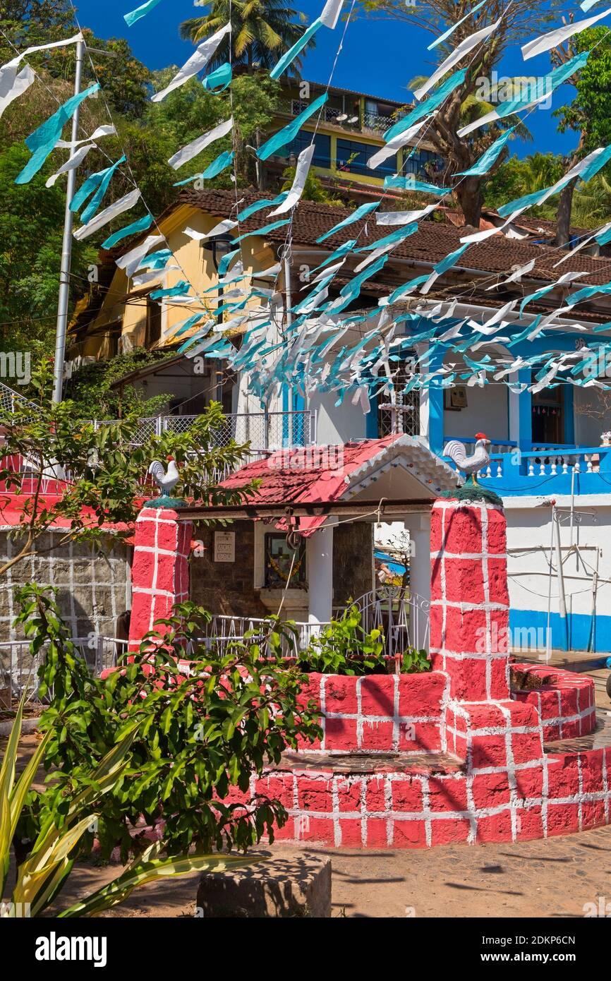 Vieux puits Fontainhas trimestre Panjim Goa Inde Tiswadi Banque D'Images