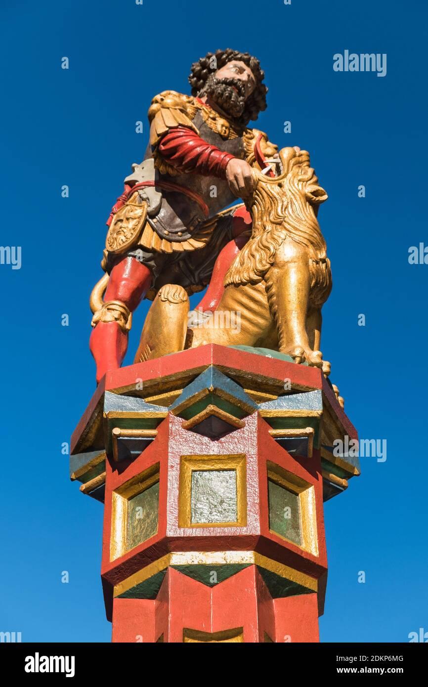 Simsonbrunnen Samson fontaine statue Berne Suisse Banque D'Images