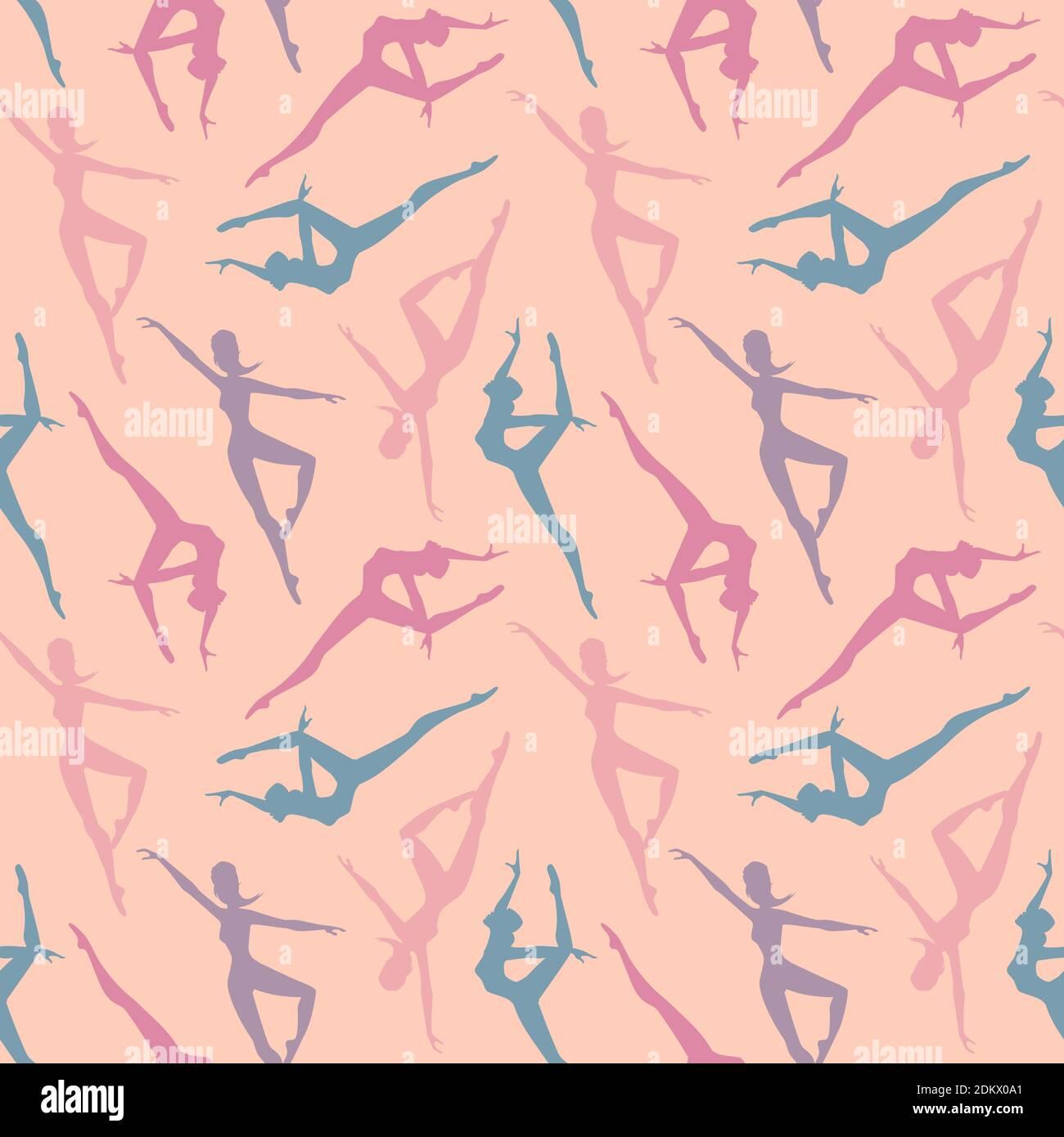Motif vectoriel sans couture avec silhouettes ballerinas en rose, bleu et violet. Parfait pour le papier cadeau, le tissu, les vêtements, le textile, le textu de surface Illustration de Vecteur