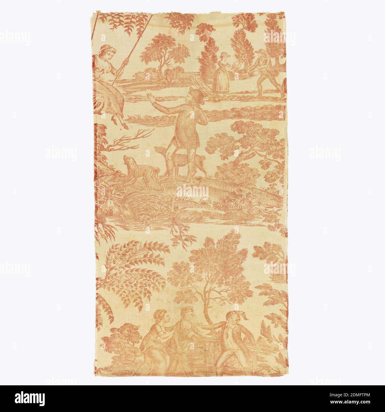 Fragment, Medium: cotton Technique: copperplate printed on plain weave, Textile fragment. Figures play 'blind man's buff' in a rustic setting with water fowl. Above, a man pushes a woman on a swing while dogs look on. Behind stands a man and woman with picnic basket. Each piece is composed of several pieces sewn together., England, late 18th century, printed, dyed & painted textiles, Fragment Banque D'Images