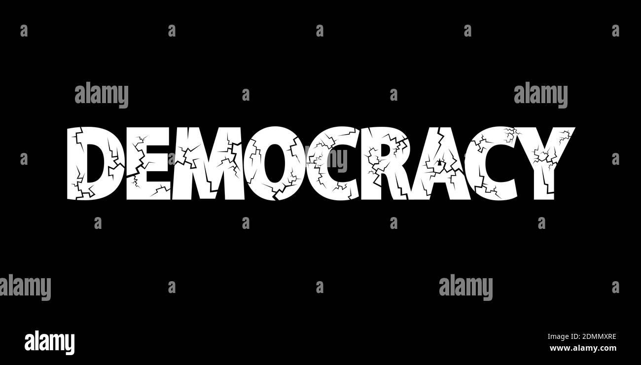 La démocratie en danger - le système démocratique se détériore et s'aggrave. Déclin et échec de la politique et des élections. Illustration vectorielle Banque D'Images