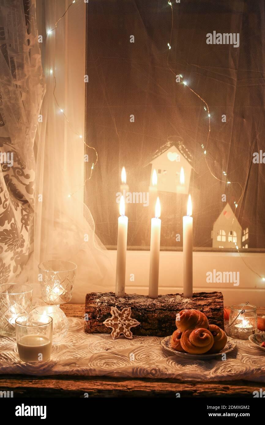 Bougies de nuit de Saint Lucy Banque D'Images