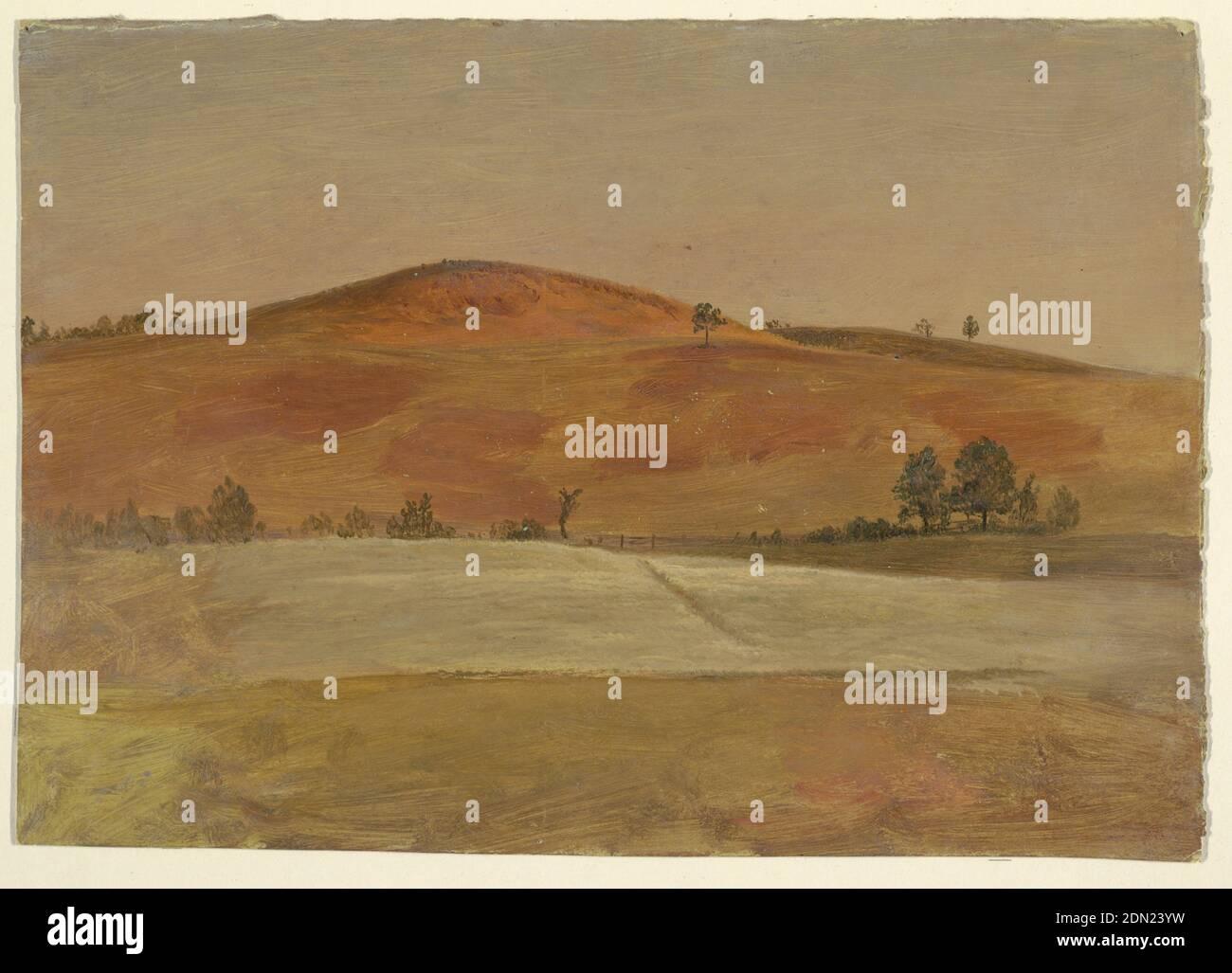 Paysage avec Low Hill et Fields, église Frederic Edwin, américaine, 1826–1900, peinture à la brosse et à l'huile sur carton, UNE colline basse, rendue dans des tons russset, est vu dans la distance à travers les champs cultivés qui sont bordés par une clôture. Quelques arbres sont placés à gauche et à droite et de l'autre côté de la crête de la colline à gauche., États-Unis, 1870–80, paysages, dessin Banque D'Images