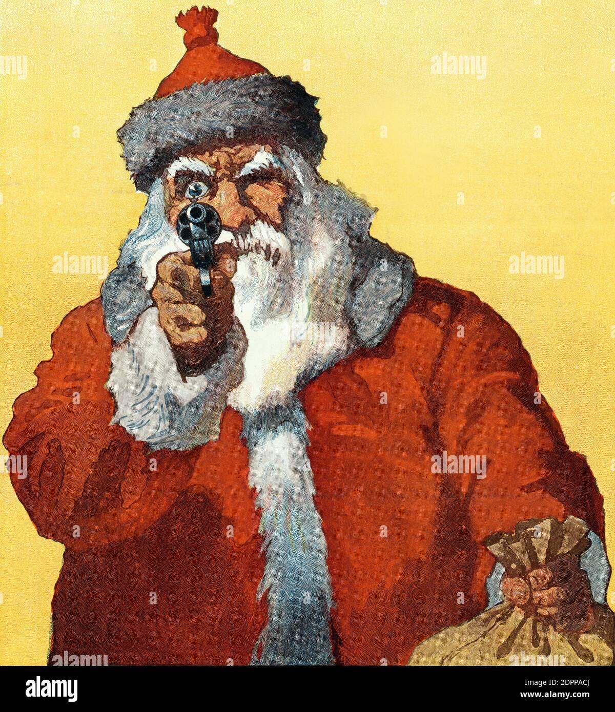 Illustration du Père Noël pointant un fusil vers le le spectateur de will Crawford a appelé « Hands Up » de Puck Magazine Banque D'Images