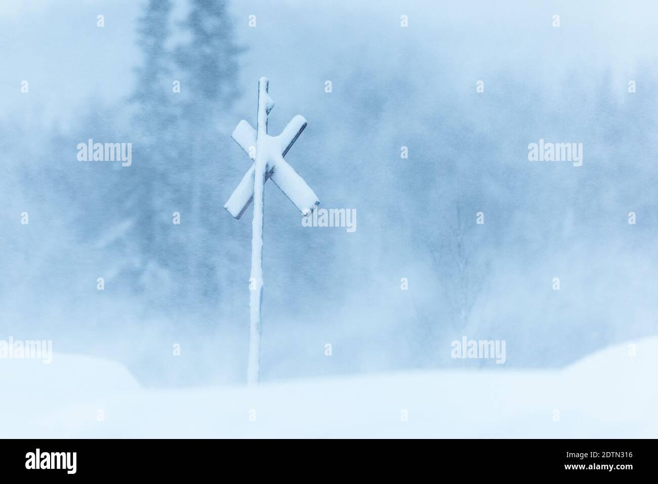 Connectez-vous à Snow Storm Banque D'Images