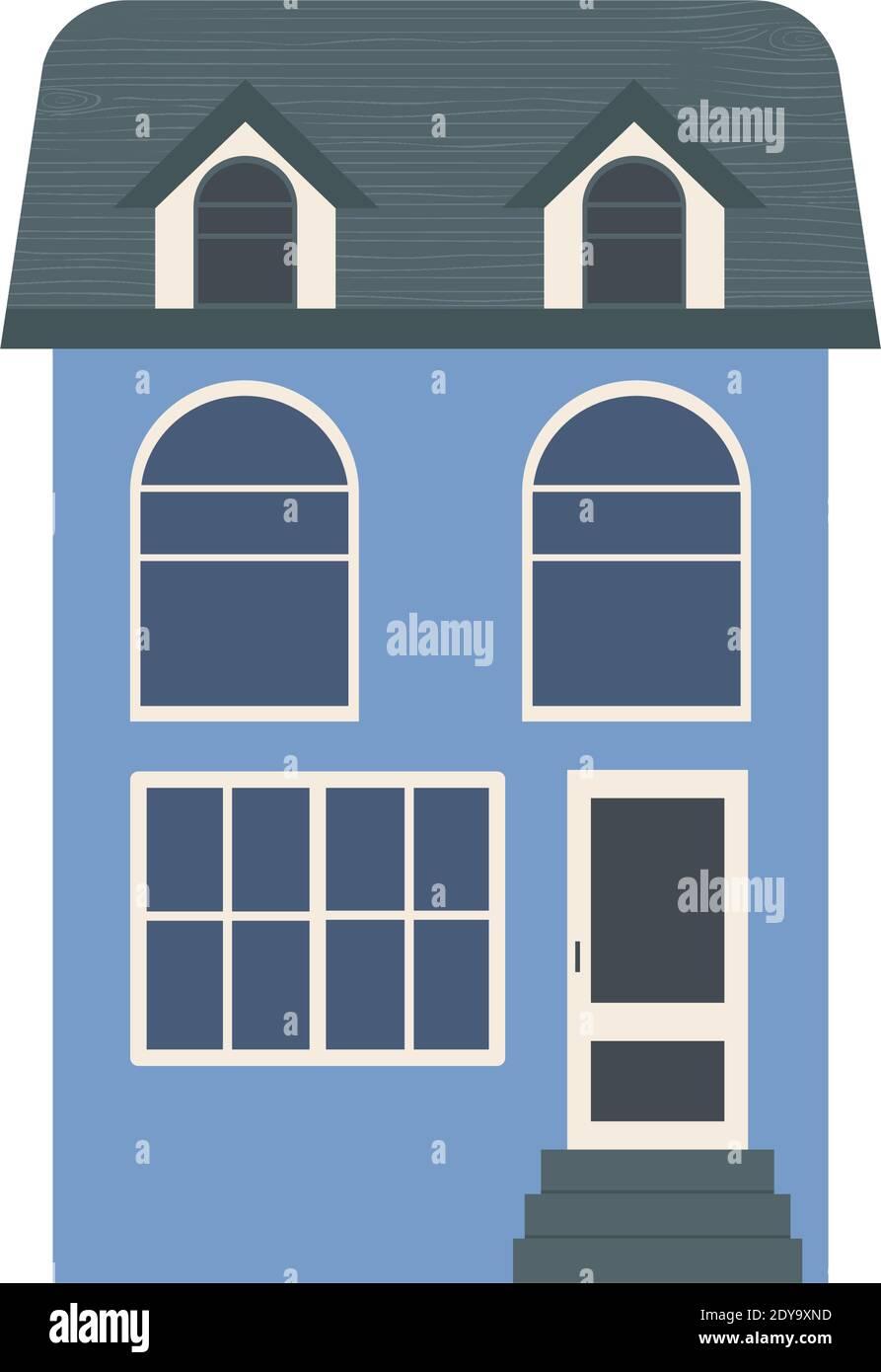 icône de maison résidentielle bleue sur fond blanc, design coloré, illustration vectorielle Illustration de Vecteur