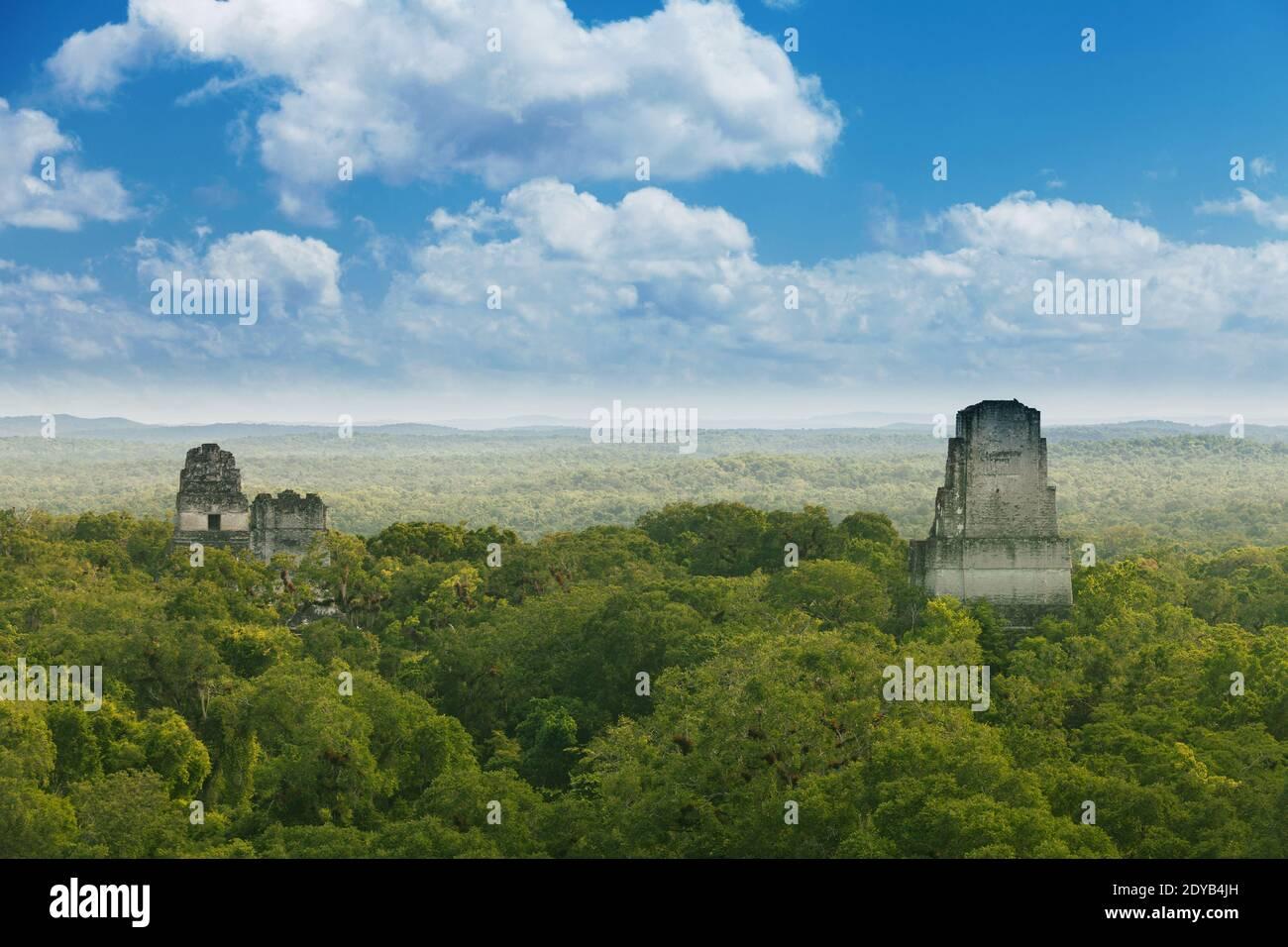 Tikal, Guatemala. Vue depuis le Temple IV sur les temples calcaires dans la jungle. Banque D'Images