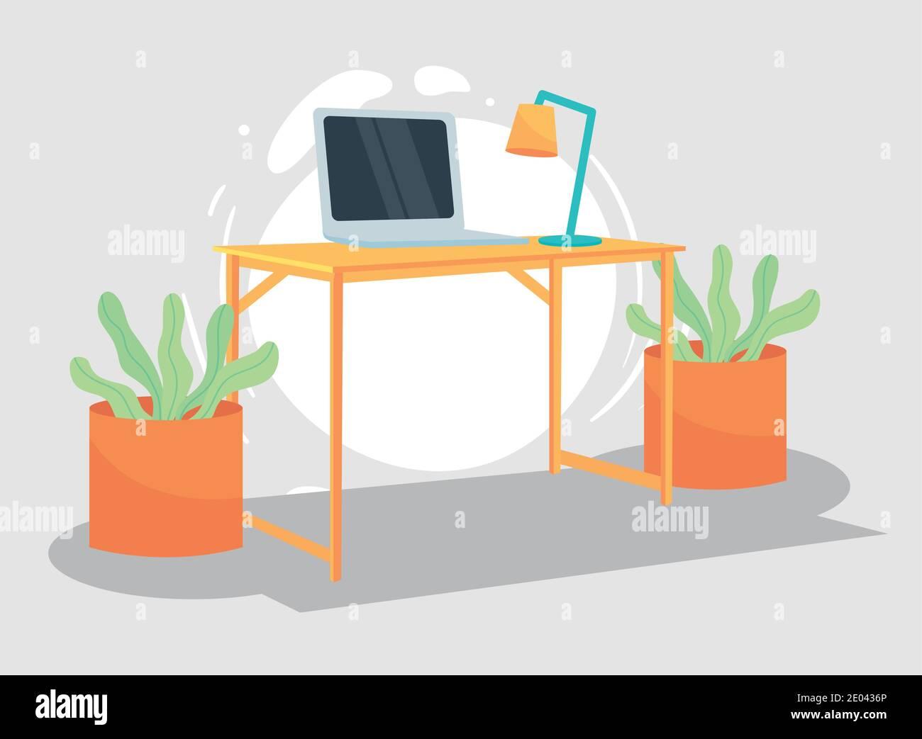 Espace de travail avec plantes de bureau pour ordinateur portable et lampe, bureau de travail et télétravail thème illustration Vector Illustration de Vecteur